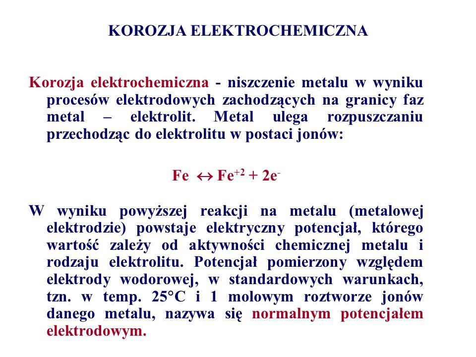 KOROZJA ELEKTROCHEMICZNA lokalna: mikoogniwa galwaniczne Katoda Anoda Katoda węglik α węglik Fe+ 2 ziarno A B Mikroogniwa galwaniczne utworzone w wyniku różnego składu chemicznego i mikrostruktury: A –ziaren i granicy ziarna, B –ferrytu (α) i węglików