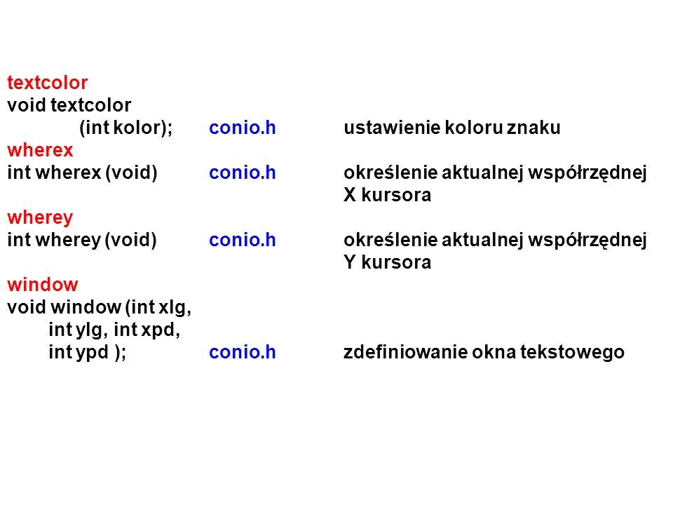 textcolor void textcolor (int kolor);conio.hustawienie koloru znaku wherex int wherex (void)conio.hokreślenie aktualnej współrzędnej X kursora wherey