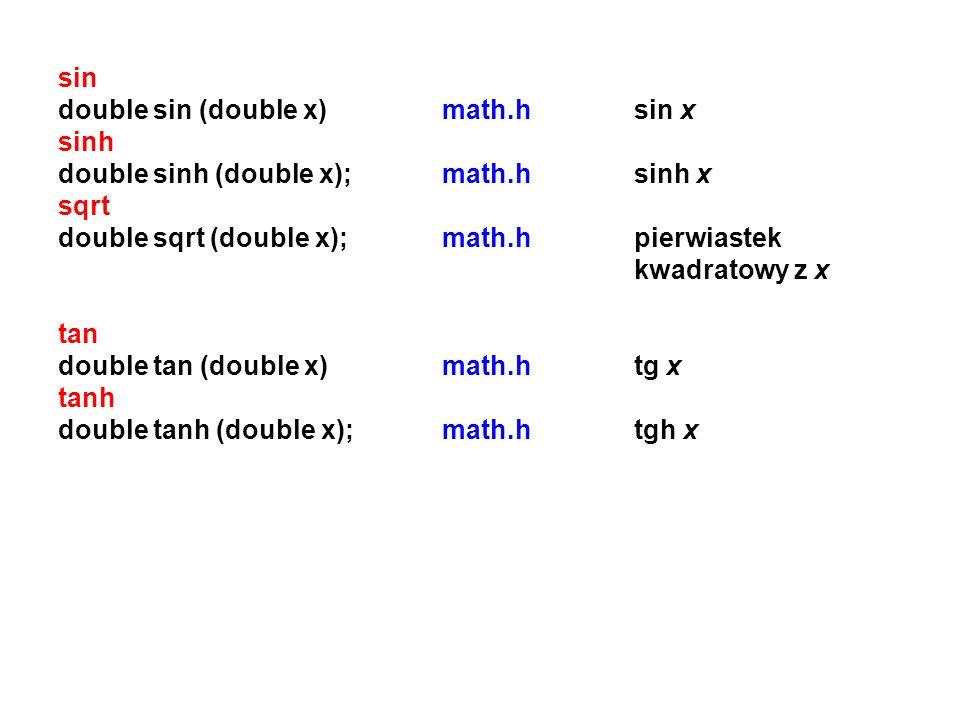 sin double sin (double x)math.hsin x sinh double sinh (double x);math.hsinh x sqrt double sqrt (double x);math.hpierwiastek kwadratowy z x tan double