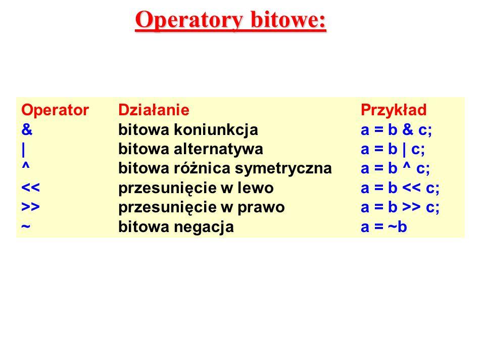 Operatory bitowe: OperatorDziałaniePrzykład &bitowa koniunkcjaa = b & c; |bitowa alternatywaa = b | c; ^bitowa różnica symetrycznaa = b ^ c; <<przesun