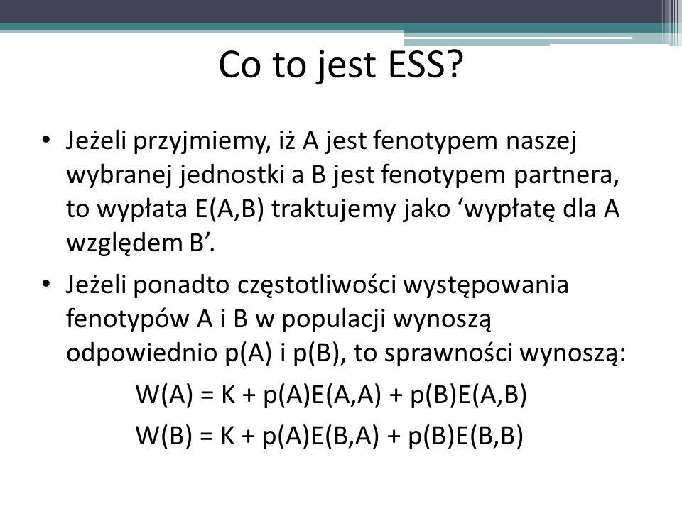 Co to jest ESS? Jeżeli przyjmiemy, iż A jest fenotypem naszej wybranej jednostki a B jest fenotypem partnera, to wypłata E(A,B) traktujemy jako wypłat