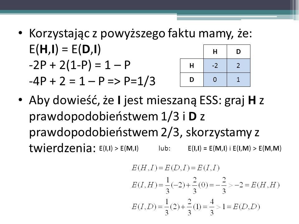 Korzystając z powyższego faktu mamy, że: E(H,I) = E(D,I) -2P + 2(1-P) = 1 – P -4P + 2 = 1 – P=> P=1/3 Aby dowieść, że I jest mieszaną ESS: graj H z pr