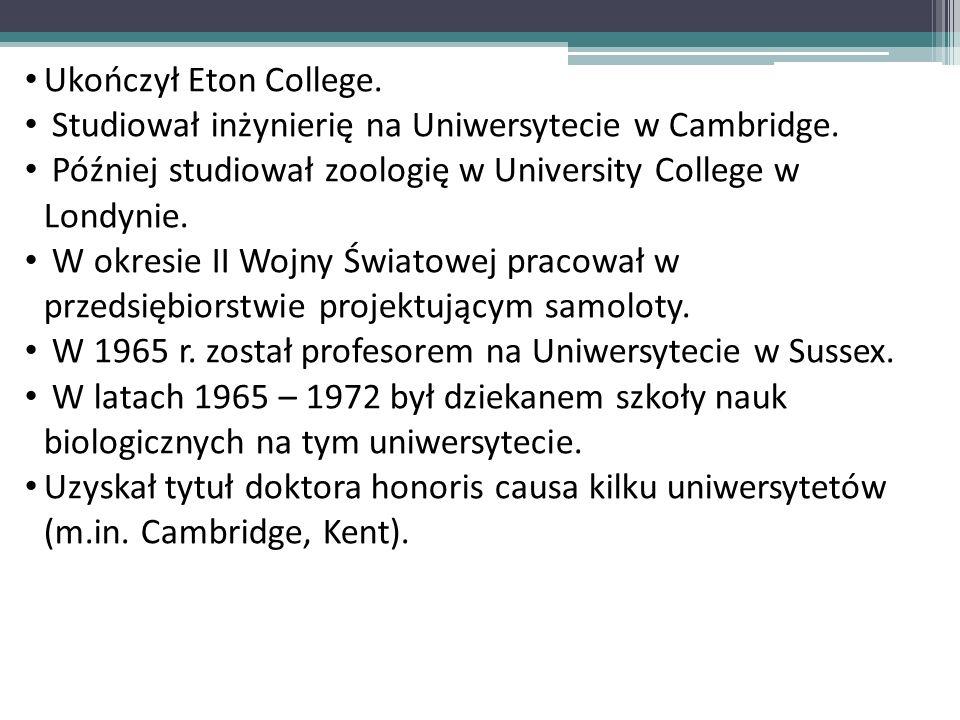 Ukończył Eton College. Studiował inżynierię na Uniwersytecie w Cambridge. Później studiował zoologię w University College w Londynie. W okresie II Woj