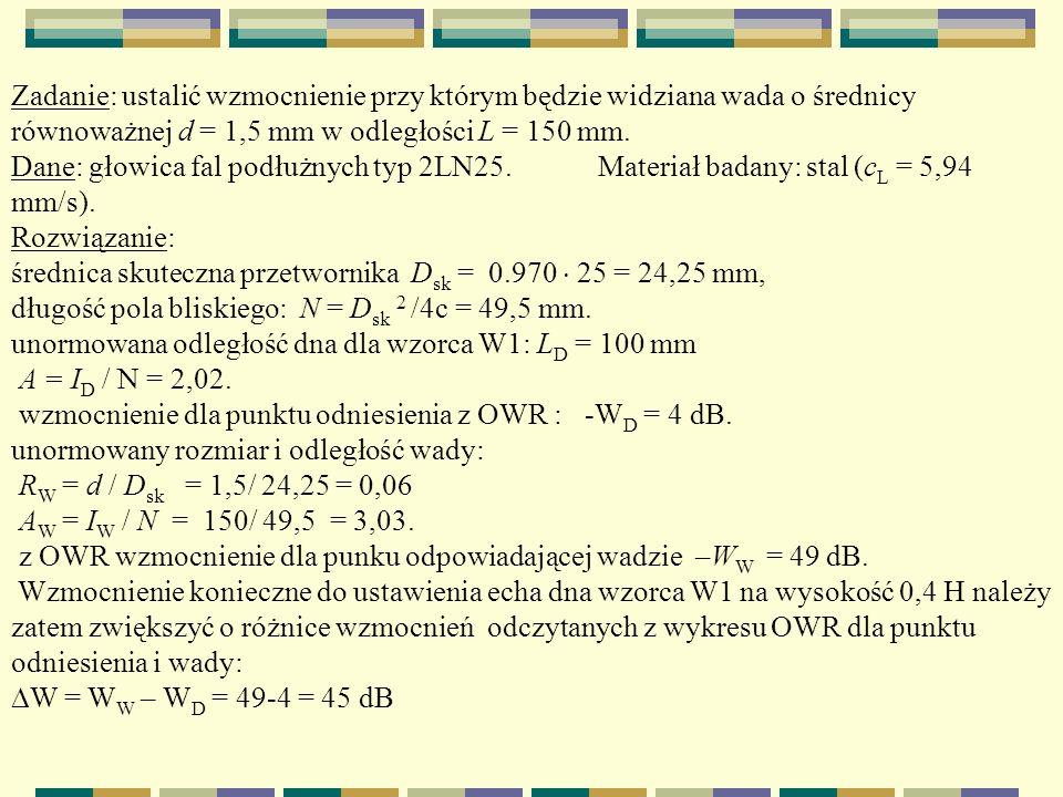 Zadanie: ustalić wzmocnienie przy którym będzie widziana wada o średnicy równoważnej d = 1,5 mm w odległości L = 150 mm. Dane: głowica fal podłużnych