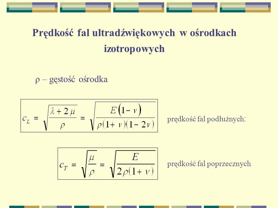 Prędkość fal ultradźwiękowych w ośrodkach izotropowych ρ – gęstość ośrodka prędkość fal podłużnych : prędkość fal poprzecznych