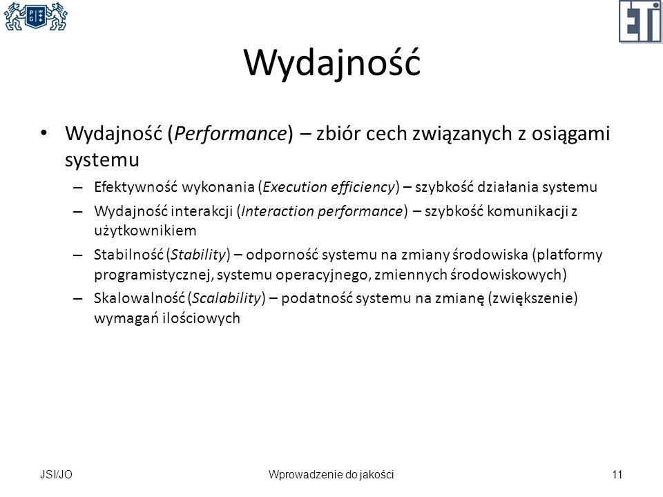 Wydajność Wydajność (Performance) – zbiór cech związanych z osiągami systemu – Efektywność wykonania (Execution efficiency) – szybkość działania syste