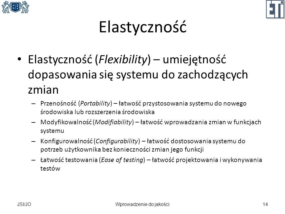 Elastyczność Elastyczność (Flexibility) – umiejętność dopasowania się systemu do zachodzących zmian – Przenośność (Portability) – łatwość przystosowan