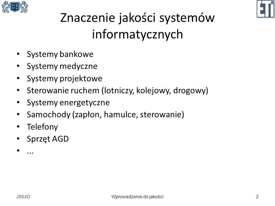 Znaczenie jakości systemów informatycznych Systemy bankowe Systemy medyczne Systemy projektowe Sterowanie ruchem (lotniczy, kolejowy, drogowy) Systemy