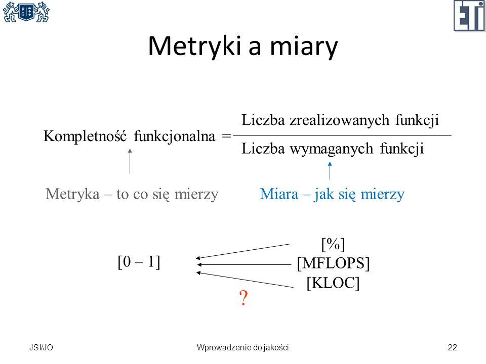 Metryki a miary JSI/JOWprowadzenie do jakości22 Kompletność funkcjonalna = Liczba zrealizowanych funkcji Liczba wymaganych funkcji Metryka – to co się
