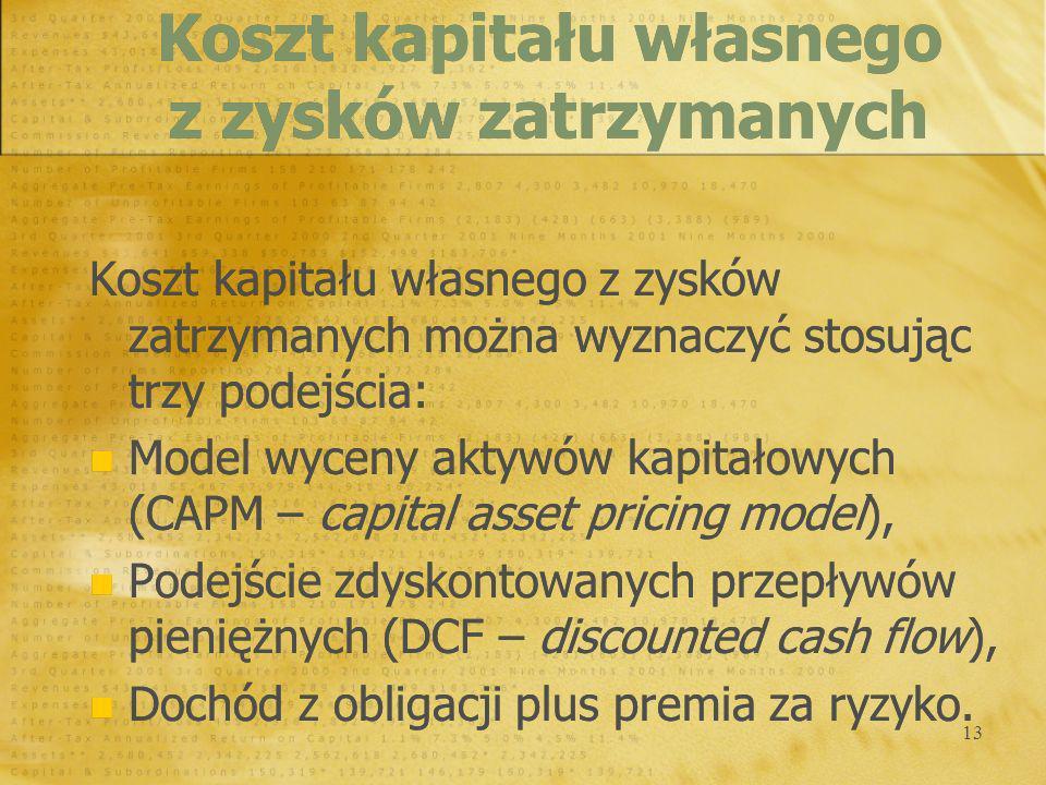 13 Koszt kapitału własnego z zysków zatrzymanych można wyznaczyć stosując trzy podejścia: Model wyceny aktywów kapitałowych (CAPM – capital asset pric