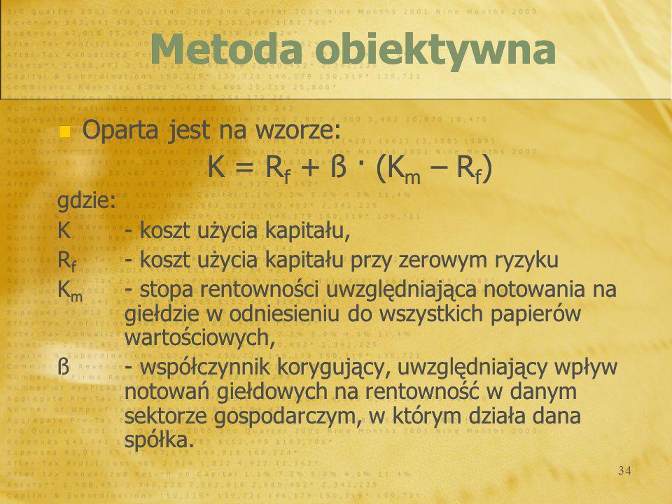 34 Oparta jest na wzorze: K = R f + ß · (K m – R f ) gdzie: K- koszt użycia kapitału, R f - koszt użycia kapitału przy zerowym ryzyku K m - stopa rent