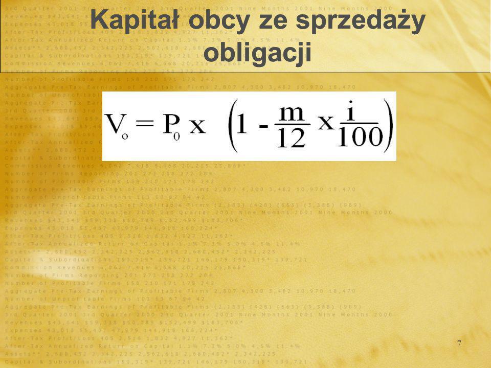 18 Kowariancja stopy zwrotu z i-tego aktywu i stopy zwrotu z portfela rynkowego wyraża się wzorem: Kalkulacja współczynnika ß