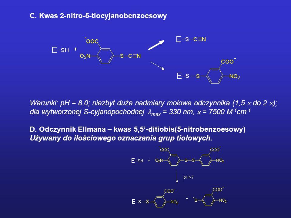 MODYFIKACJE CHEMICZNE ENZYMU Odczynniki ukierunkowane na reszty cysteinylowe A. -halogenooctany i -halogenoacetamidy Warunki: pH 7; labilne w roztwora