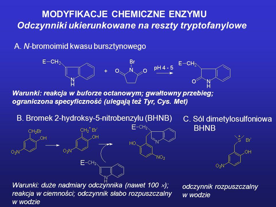 MODYFIKACJE CHEMICZNE ENZYMU Odczynniki ukierunkowane na reszty tyrozylowe A. N-acetyloimidazol Warunki: duże nadmiary odczynnika. Unikać buforu Tris.