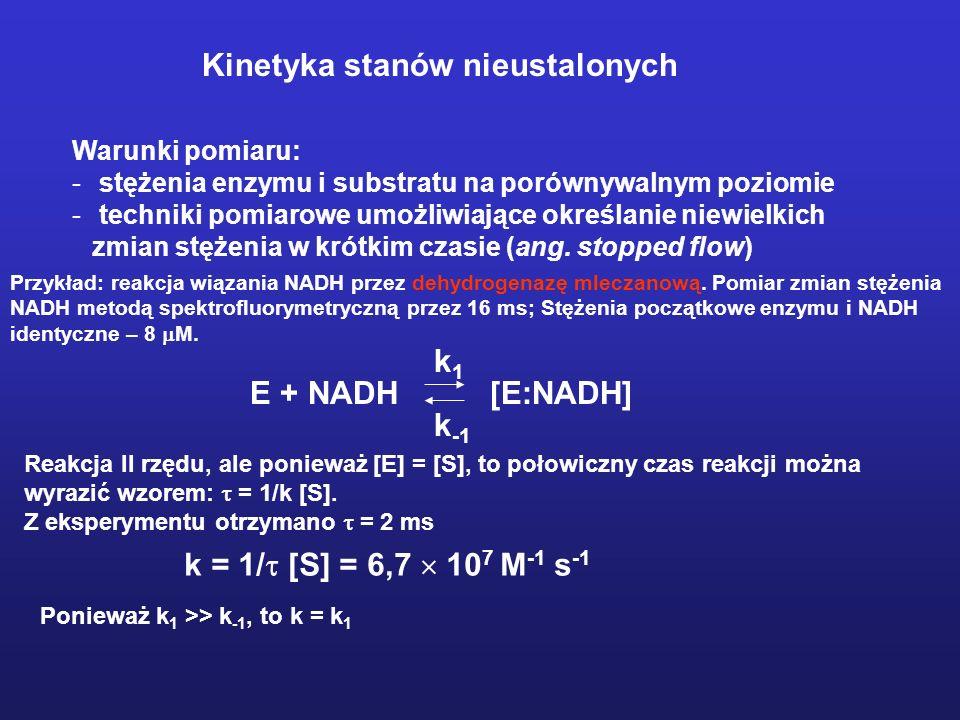 Schemat aparatury do pomiarów kinetycznych metodą stopped flow Kinetyka stanów nieustalonych