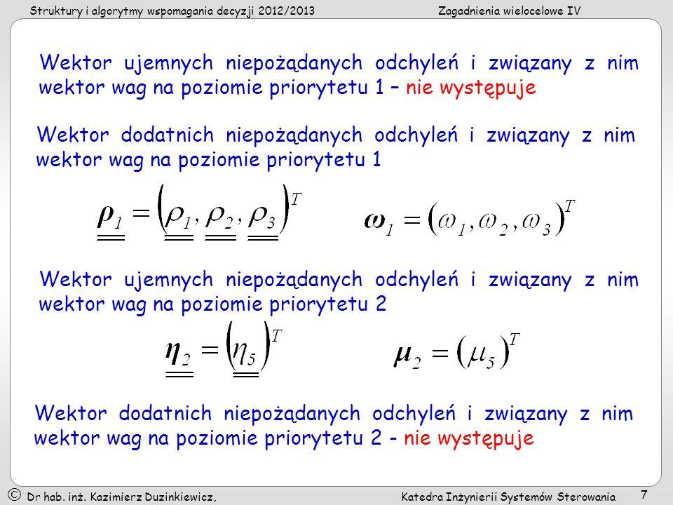 Struktury i algorytmy wspomagania decyzji 2012/2013 Zagadnienia wielocelowe IV Dr hab.