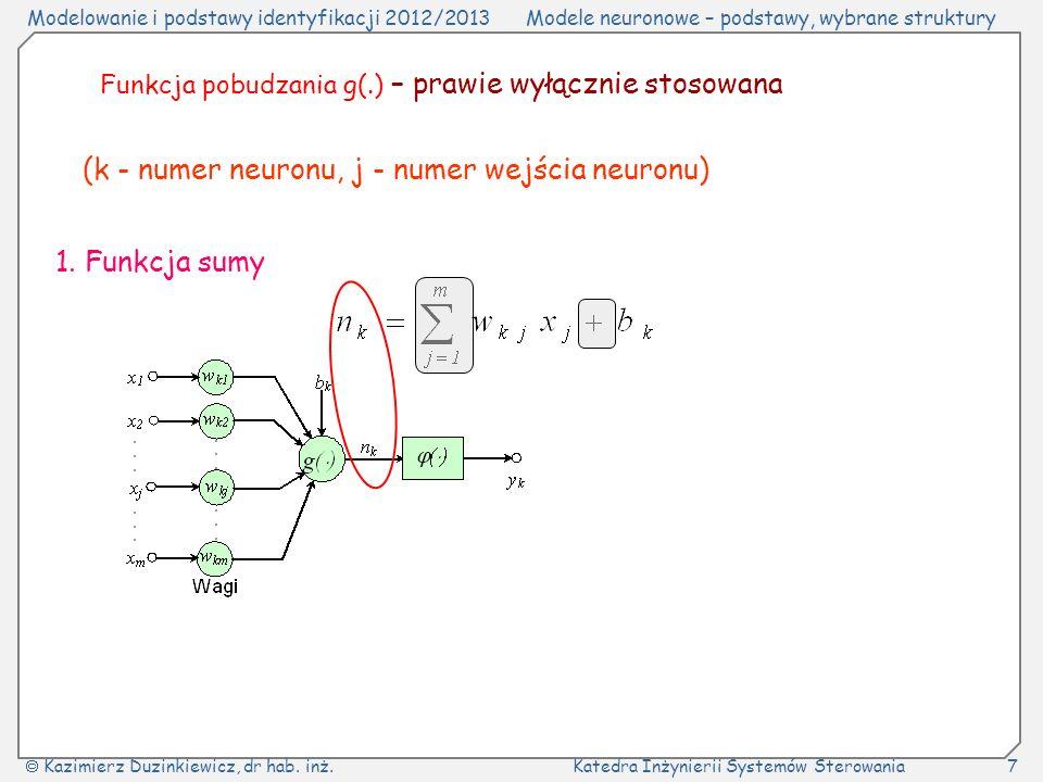 Modelowanie i podstawy identyfikacji 2012/2013Modele neuronowe – podstawy, wybrane struktury Kazimierz Duzinkiewicz, dr hab.