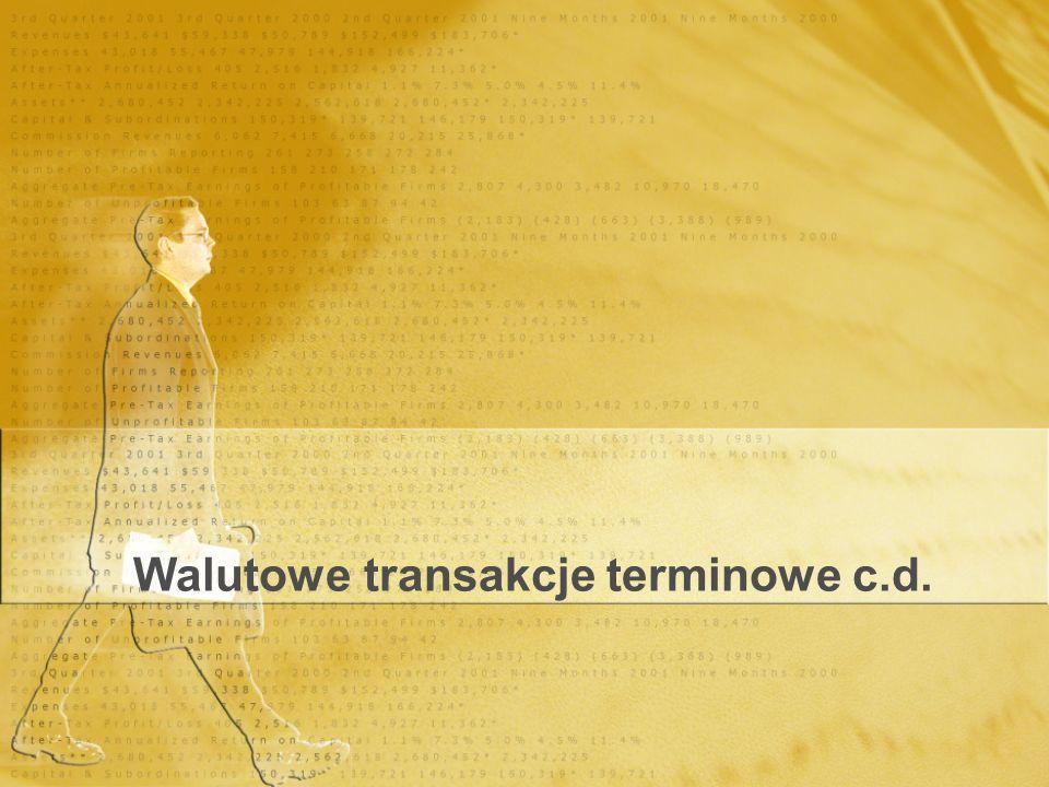 Walutowe transakcje terminowe c.d.