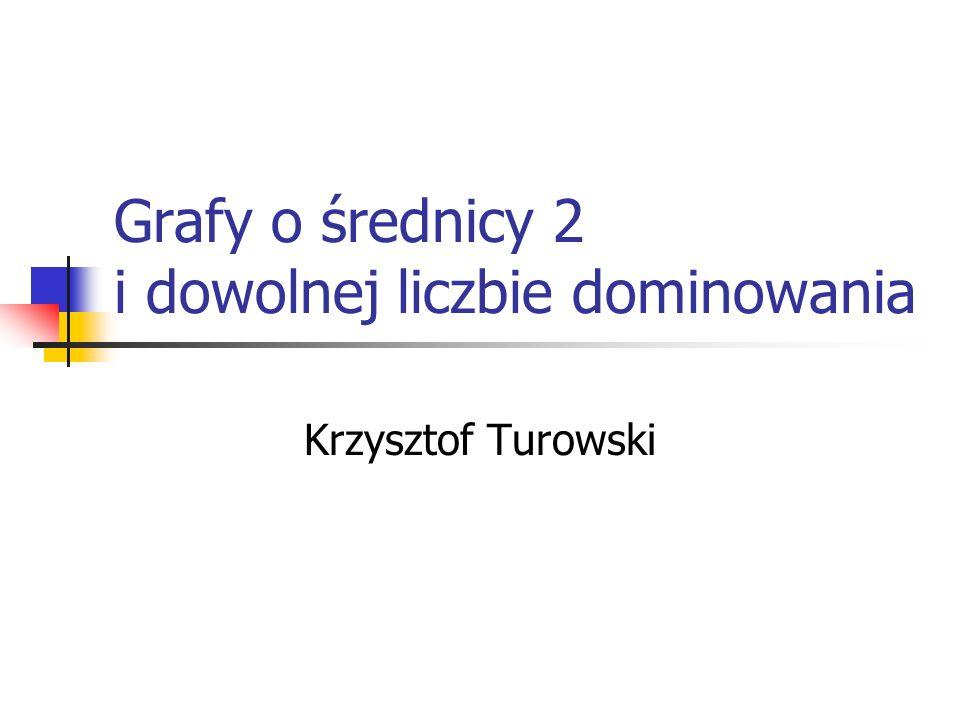 Grafy o średnicy 2 i dowolnej liczbie dominowania Krzysztof Turowski