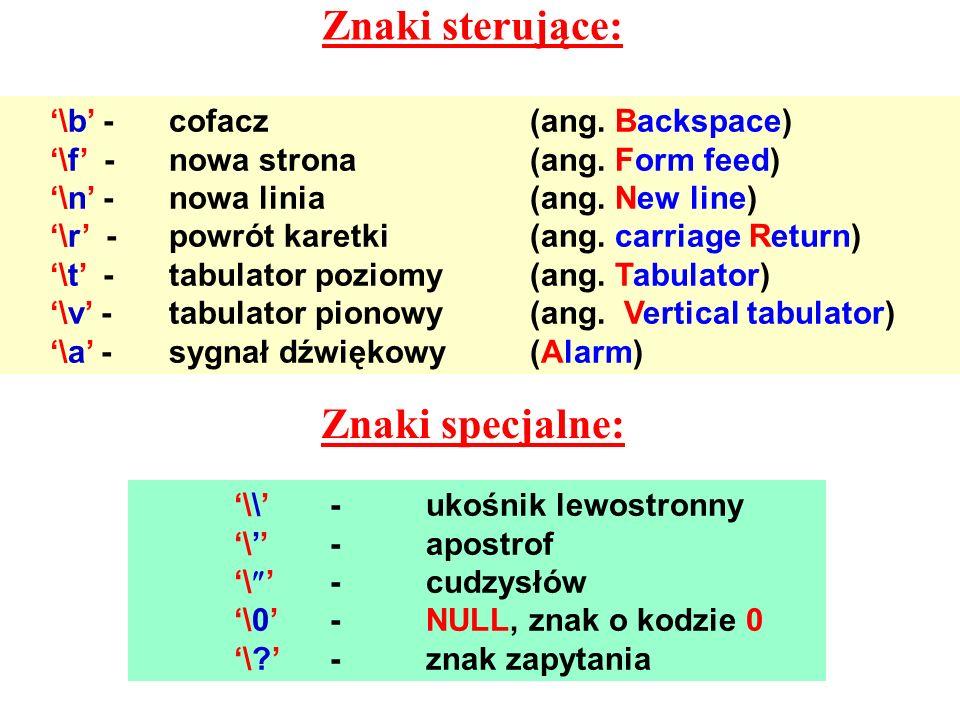 Znaki sterujące: \b - cofacz(ang. Backspace) \f -nowa strona(ang. Form feed) \n -nowa linia(ang. New line) \r -powrót karetki(ang. carriage Return) \t