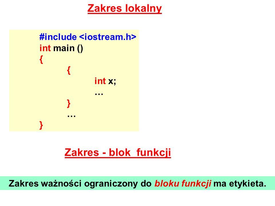 Zakres lokalny #include int main () { int x; … } … } Zakres - blok funkcji Zakres ważności ograniczony do bloku funkcji ma etykieta.