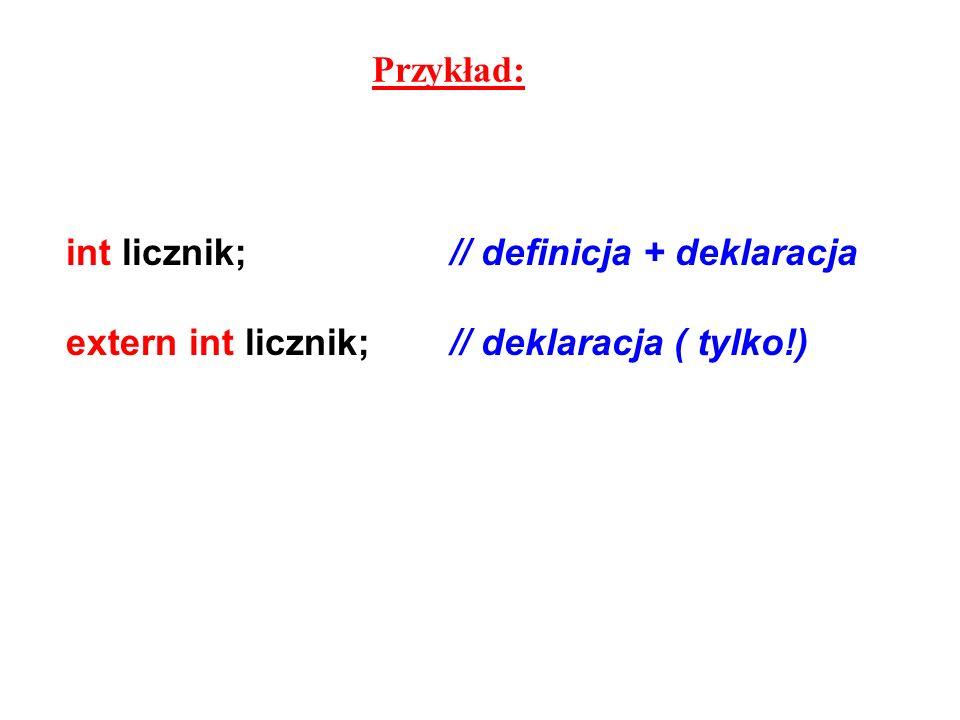 Przykład: int licznik;// definicja + deklaracja extern int licznik;// deklaracja ( tylko!)