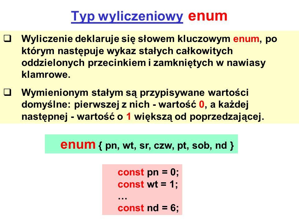 Typ wyliczeniowy enum Wyliczenie deklaruje się słowem kluczowym enum, po którym następuje wykaz stałych całkowitych oddzielonych przecinkiem i zamknię