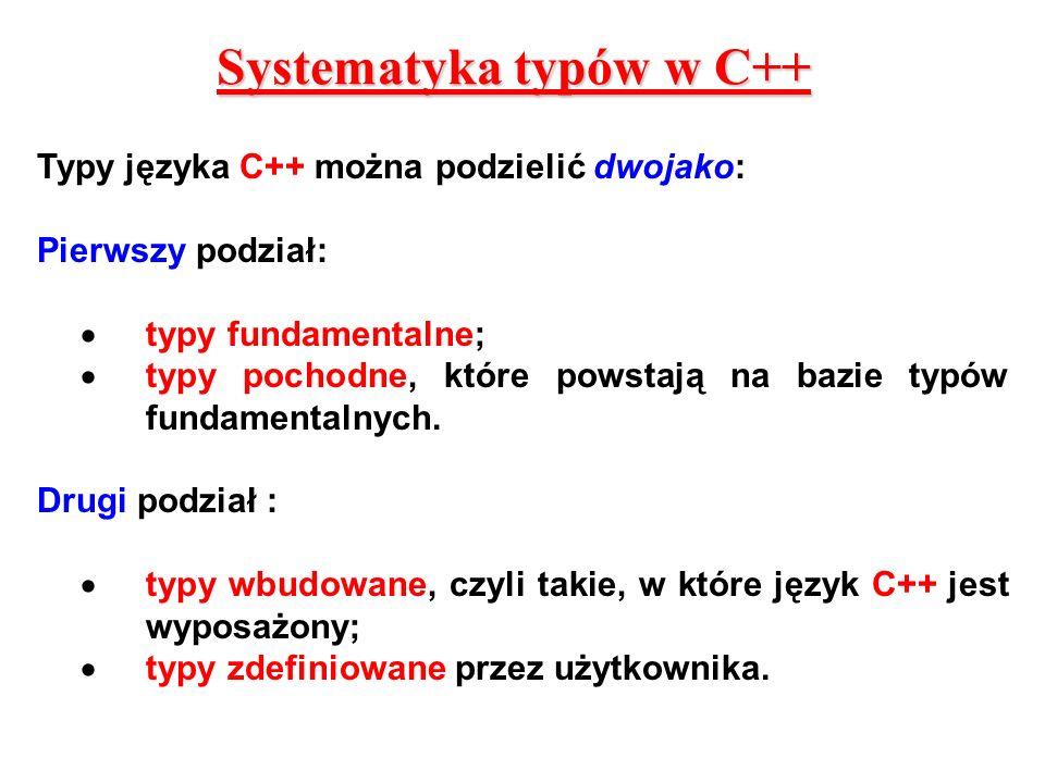 Systematyka typów w C++ Typy języka C++ można podzielić dwojako: Pierwszy podział: typy fundamentalne; typy pochodne, które powstają na bazie typów fu