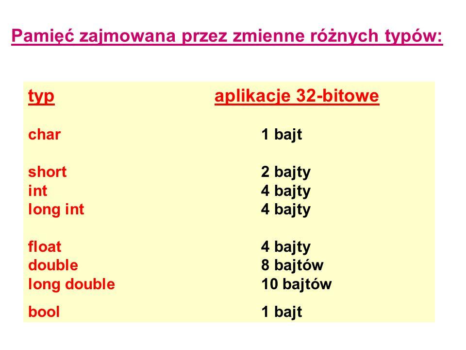 Pamięć zajmowana przez zmienne różnych typów: typaplikacje 32-bitowe char1 bajt short2 bajty int4 bajty long int4 bajty float4 bajty double8 bajtów lo
