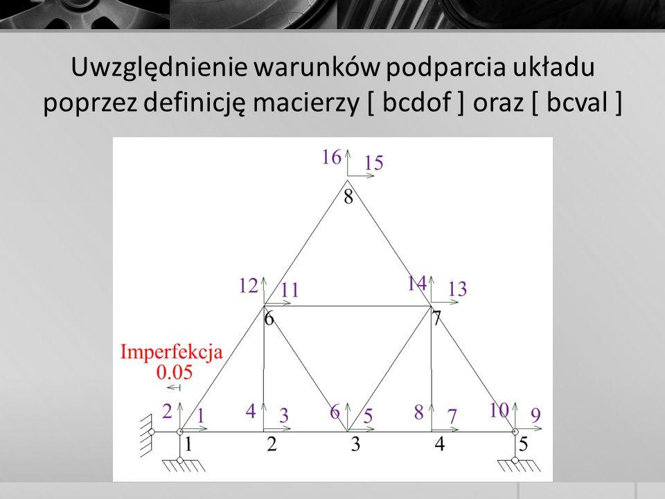 Uwzględnienie warunków podparcia układu poprzez definicję macierzy [ bcdof ] oraz [ bcval ]