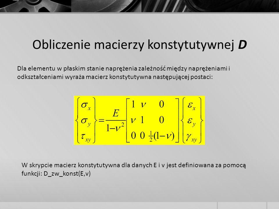 Obliczenie macierzy konstytutywnej D Dla elementu w płaskim stanie naprężenia zależność między naprężeniami i odkształceniami wyraża macierz konstytut