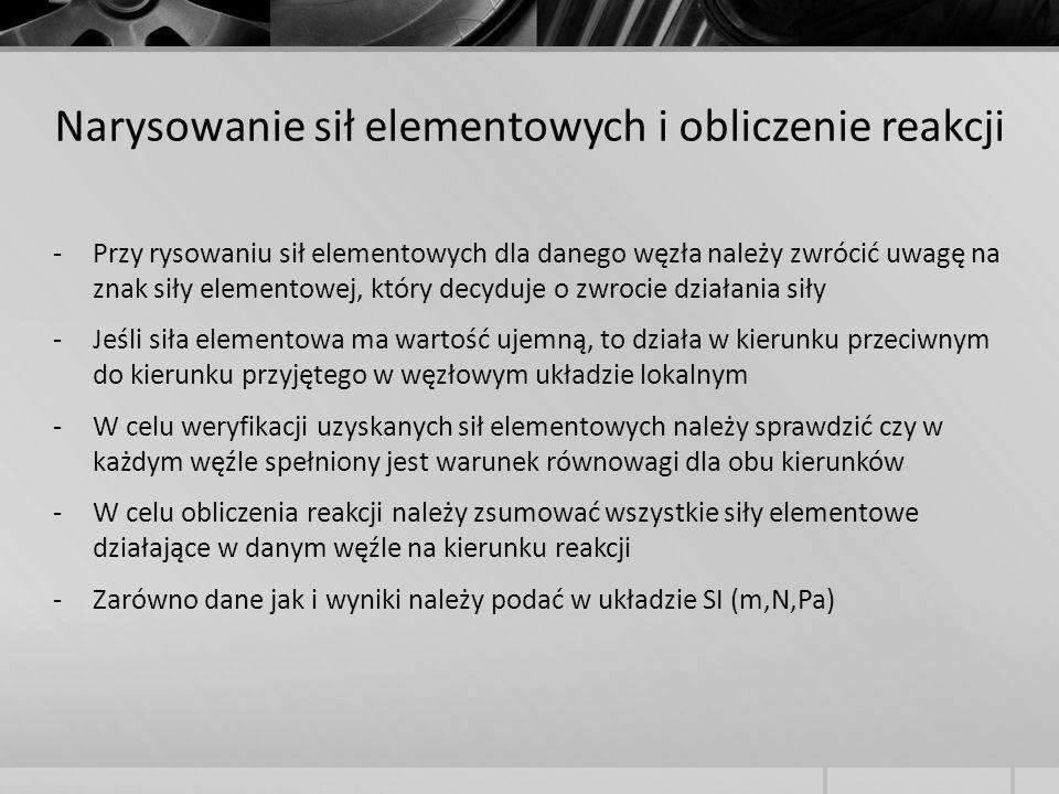 -Przy rysowaniu sił elementowych dla danego węzła należy zwrócić uwagę na znak siły elementowej, który decyduje o zwrocie działania siły -Jeśli siła e
