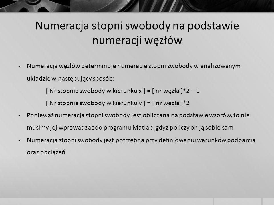 -Numeracja węzłów determinuje numerację stopni swobody w analizowanym układzie w następujący sposób: [ Nr stopnia swobody w kierunku x ] = [ nr węzła
