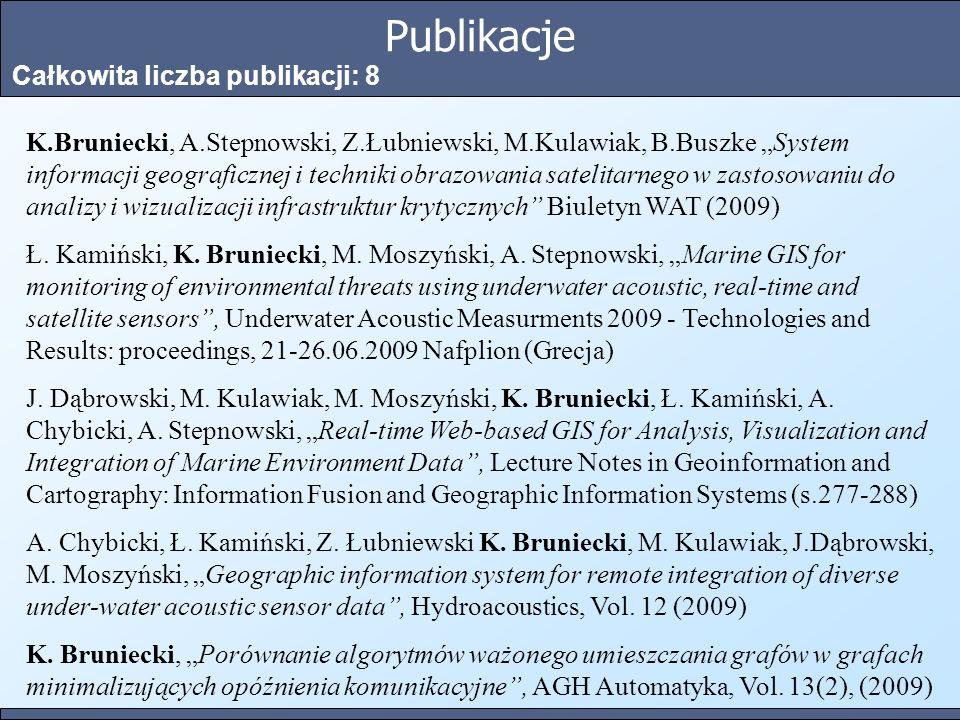 Publikacje Całkowita liczba publikacji: 8 K.Bruniecki, A.Stepnowski, Z.Łubniewski, M.Kulawiak, B.Buszke System informacji geograficznej i techniki obr