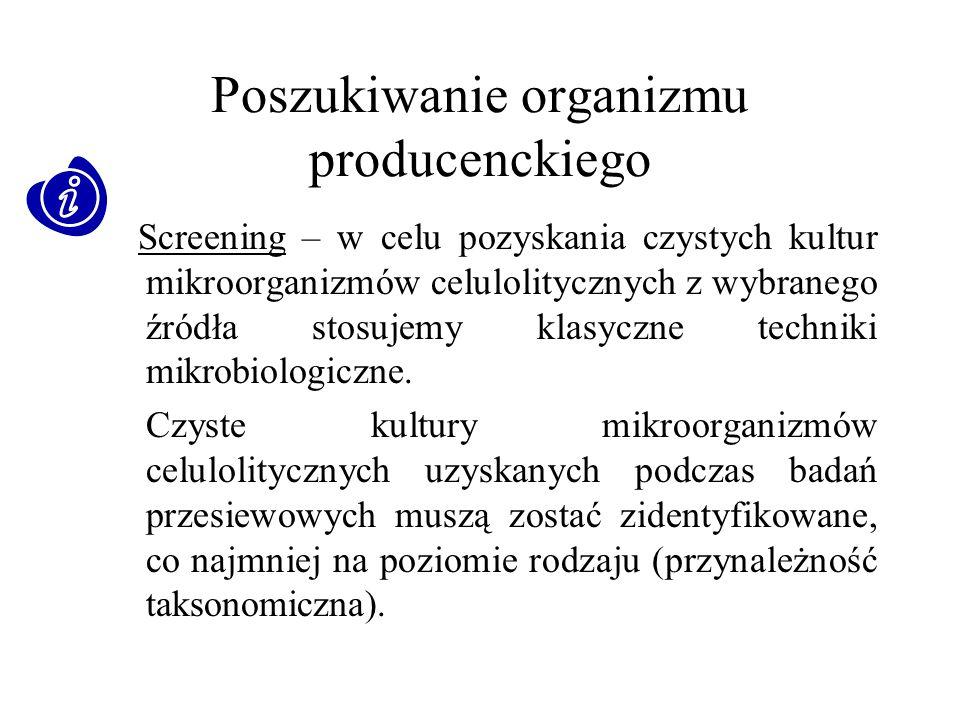 Poszukiwanie organizmu producenckiego Screening – w celu pozyskania czystych kultur mikroorganizmów celulolitycznych z wybranego źródła stosujemy klas