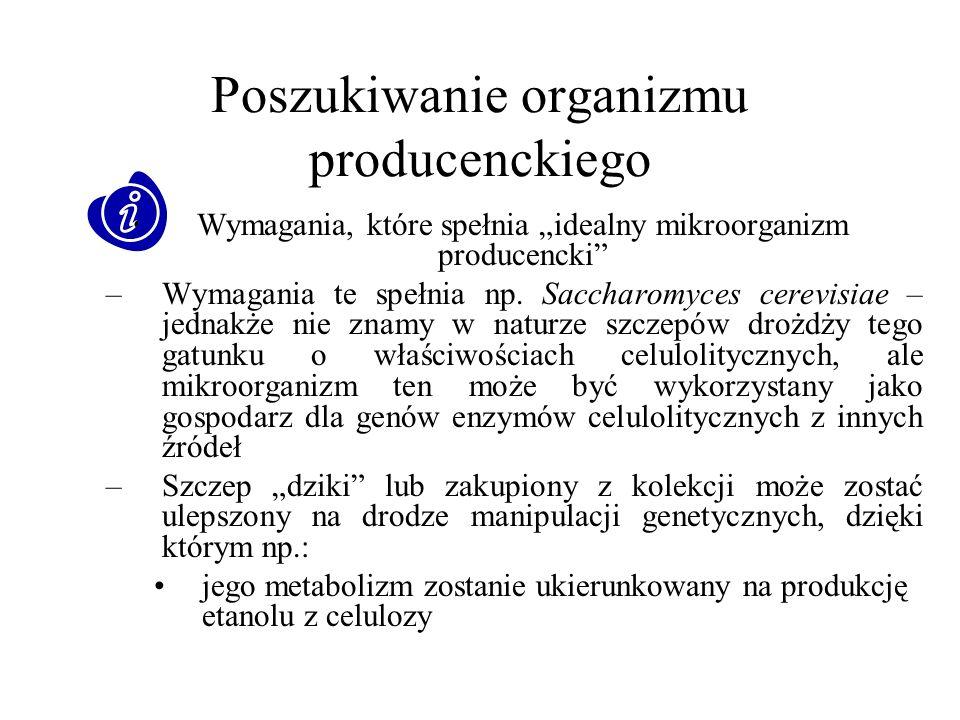 Poszukiwanie organizmu producenckiego Wymagania, które spełnia idealny mikroorganizm producencki –Wymagania te spełnia np. Saccharomyces cerevisiae –