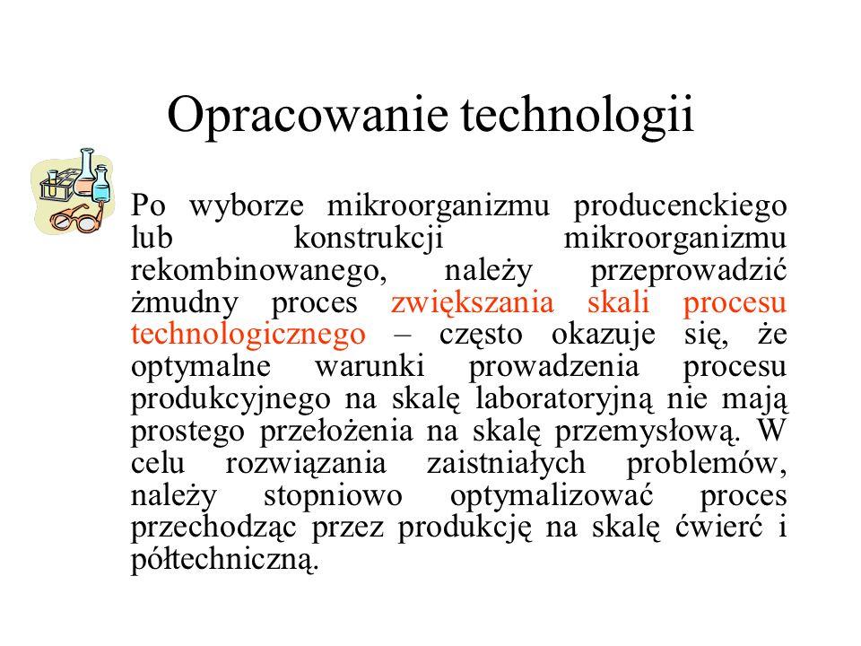 Opracowanie technologii 1.Po wyborze mikroorganizmu producenckiego lub konstrukcji mikroorganizmu rekombinowanego, należy przeprowadzić żmudny proces