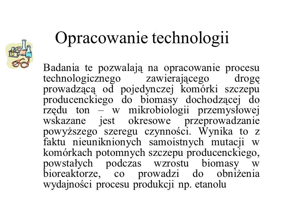 Opracowanie technologii Badania te pozwalają na opracowanie procesu technologicznego zawierającego drogę prowadzącą od pojedynczej komórki szczepu pro