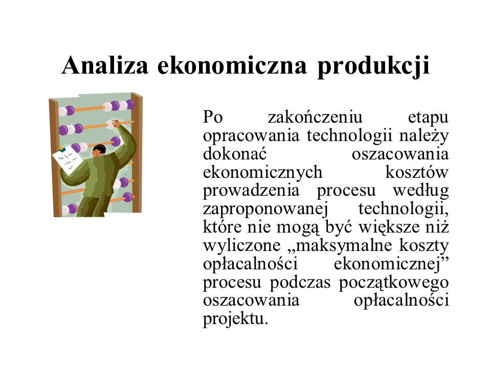 Analiza ekonomiczna produkcji Po zakończeniu etapu opracowania technologii należy dokonać oszacowania ekonomicznych kosztów prowadzenia procesu według