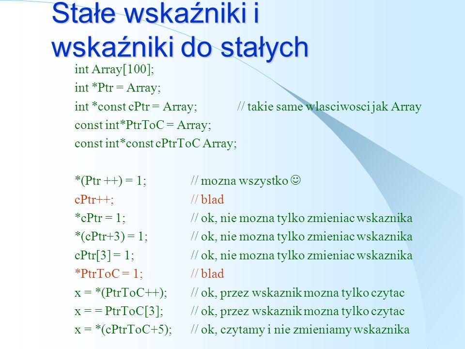 Wskaźniki i referencje int y=0, x=0, *ptr = &x, &ref = x; *ptr = 3;// x = 3; ref = 3;// x = 3; ++ptr;// przesuniecie wskaznika (tutaj bez sensu) ++ref;// ++x; ptr = &x;// ref = x oznaczaloby x = x; *ptr = y;// x = y; ptr = &y;// od tej pory wskazujemy na y ref = y;// x = y; const int & ref = x; // umozliwia tylko odczyt int & ref; // blad, niezainicjowana referencja nie ma sensu
