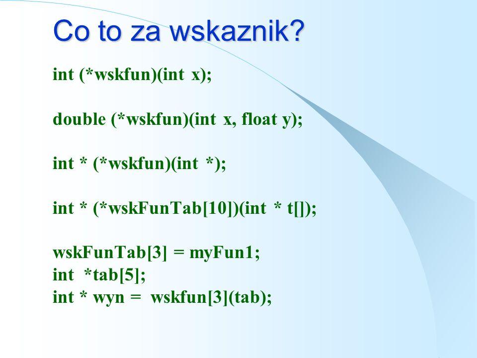 Wskaźniki do funkcji void fun(int x); void (*wskfun)(int x); // formy rownoważne wskfun = &fun; wskfun = fun; // formy rownoważne fun(5); (*wskfun)(5)