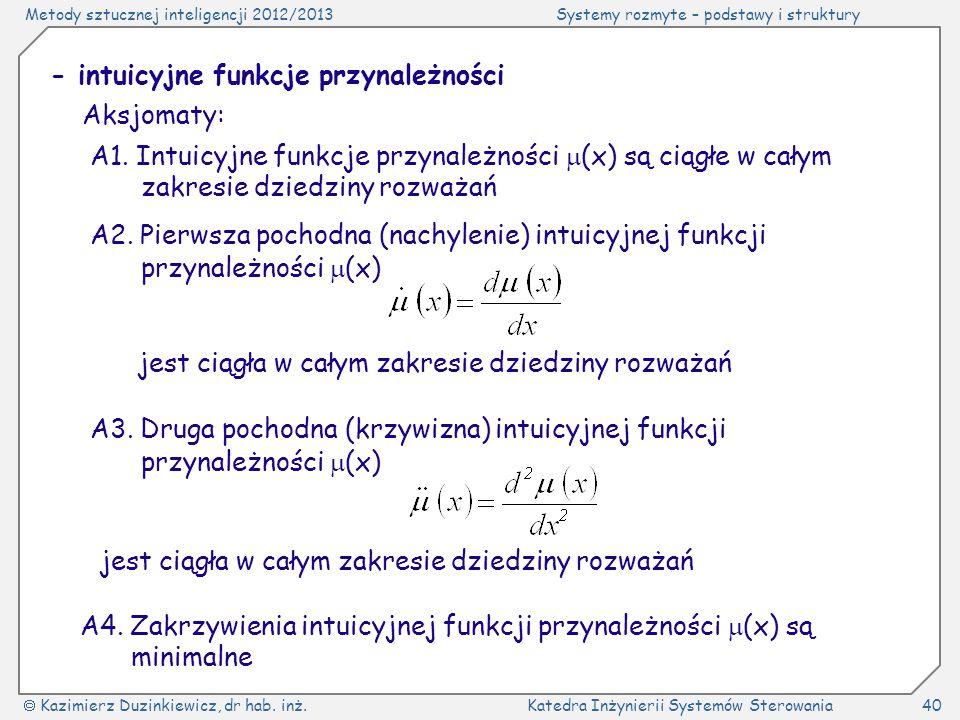 Metody sztucznej inteligencji 2012/2013Systemy rozmyte – podstawy i struktury Kazimierz Duzinkiewicz, dr hab.