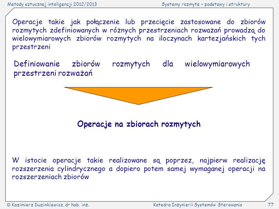 Metody sztucznej inteligencji 2012/2013Systemy rozmyte – podstawy i struktury Kazimierz Duzinkiewicz, dr hab. inż.Katedra Inżynierii Systemów Sterowan
