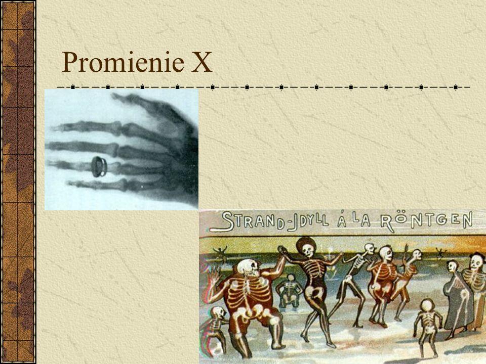 Promienie X Roentgen stwierdził, iż odpowiedzialny za tą fluorescencję musi być czynnik, który może przenikać z wnętrza rury próżniowej poprzez ciemną