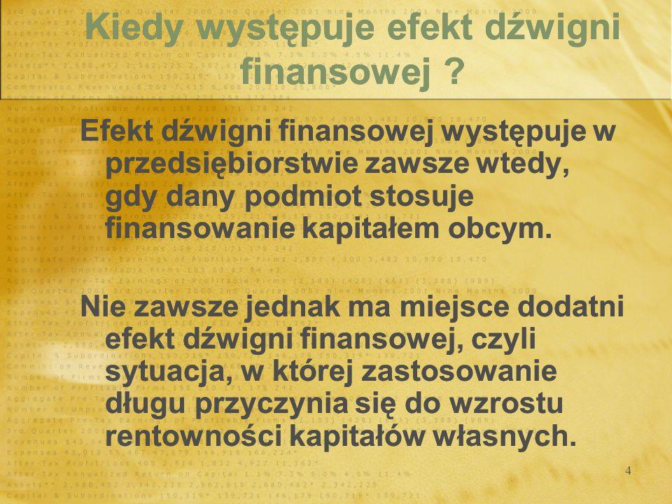 4 Kiedy występuje efekt dźwigni finansowej ? Efekt dźwigni finansowej występuje w przedsiębiorstwie zawsze wtedy, gdy dany podmiot stosuje finansowani