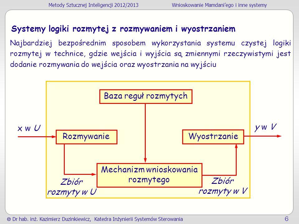 Metody Sztucznej Inteligencji 2012/2013Wnioskowanie Mamdaniego i inne systemy Dr hab. inż. Kazimierz Duzinkiewicz, Katedra Inżynierii Systemów Sterowa