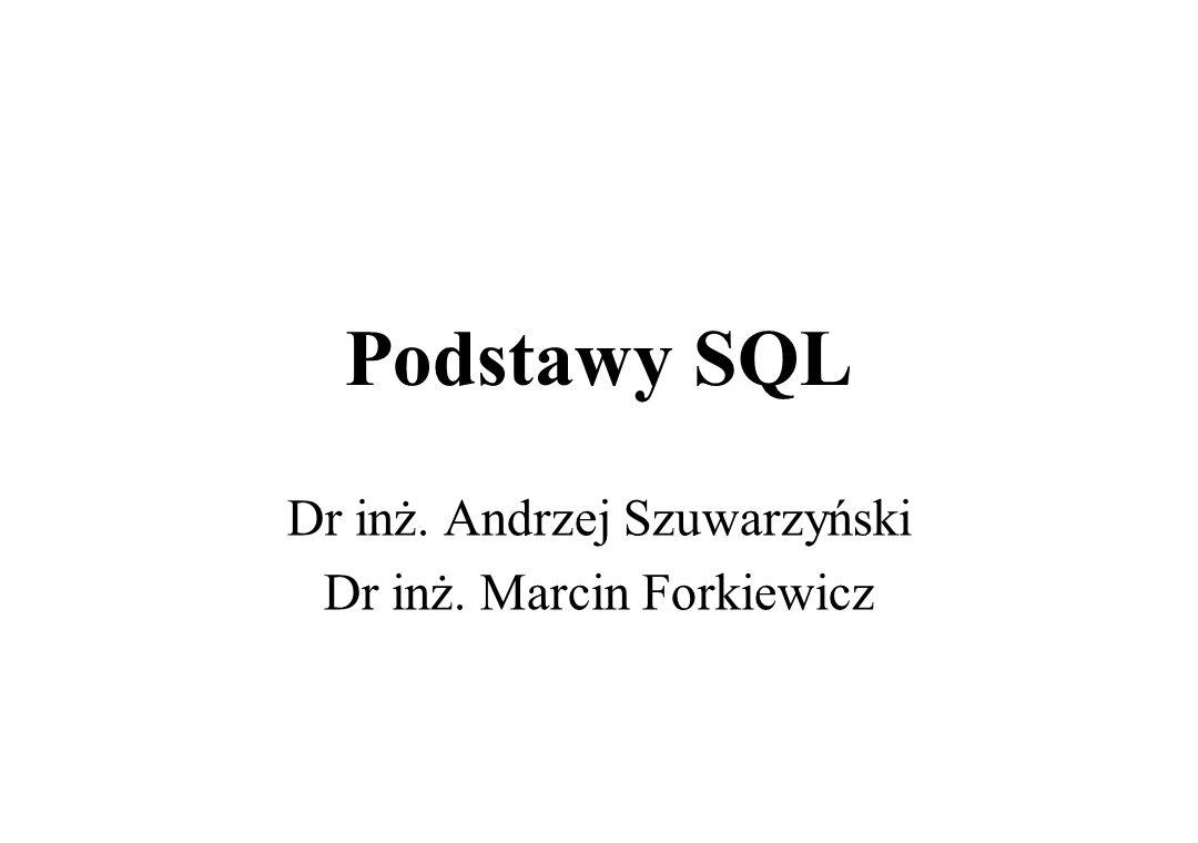 Wprowadzenie do SQL SQL - Structured Query Language -strukturalny język zapytań Światowy standard przeznaczony do definiowania, operowania i sterowania danymi w relacyjnych bazach danych Powstał w firmie IBM pod koniec lat 70-tych Występuje w produktach większości firm produkujących oprogramowanie do zarządzania bazami danych Polecenia SQL mają postać podobną do zdań w języku angielskim Pomimo prób standaryzacji istnieje szereg różnych dialektów SQL SQL używany jest jako standardowe narzędzie umożliwiające dostęp do danych w różnych środowiskach, z różnym sprzętem komputerowym i różnymi systemami operacyjnymi Język SQL jest niewrażliwy na rejestr czcionki, czyli wielkie i małe litery nie są rozróżniane 2