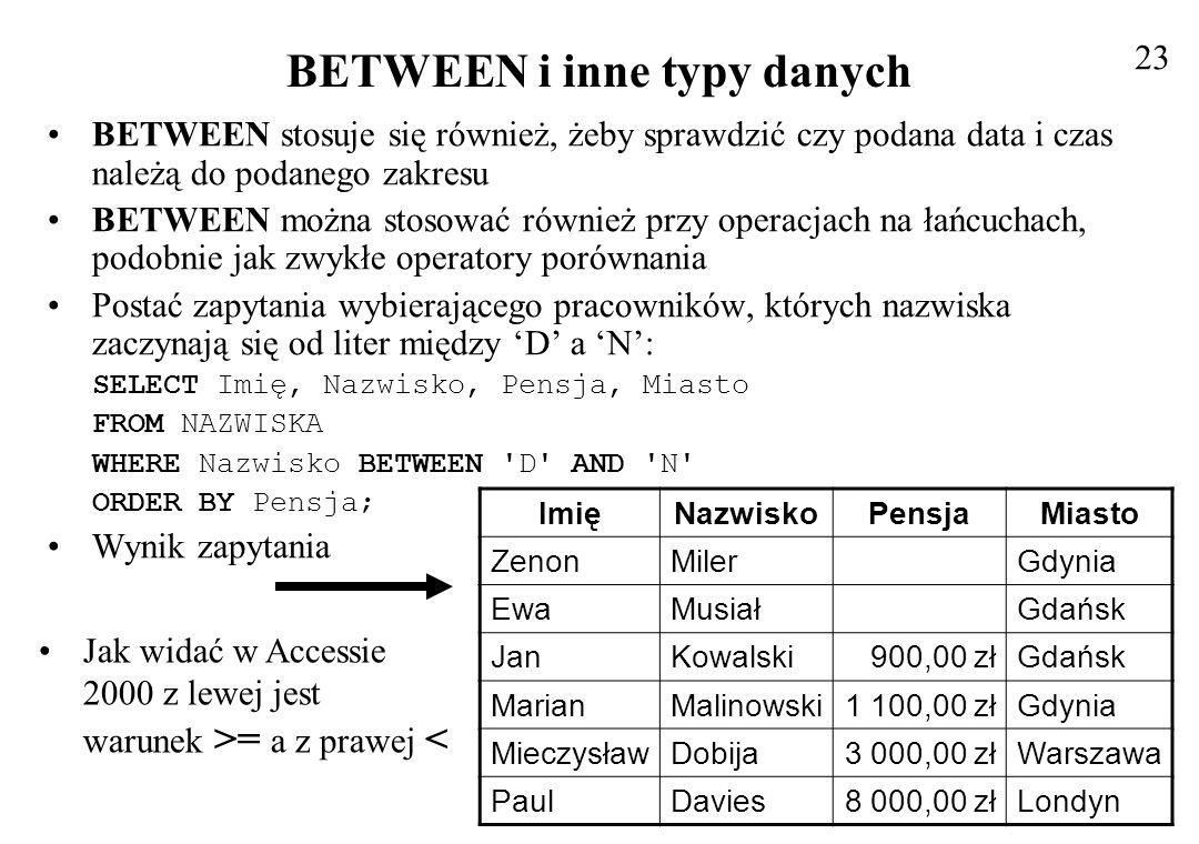 Złożone klauzule WHERE z operatorem LIKE Działa na kolumnach zawierających wartości łańcuchowe.
