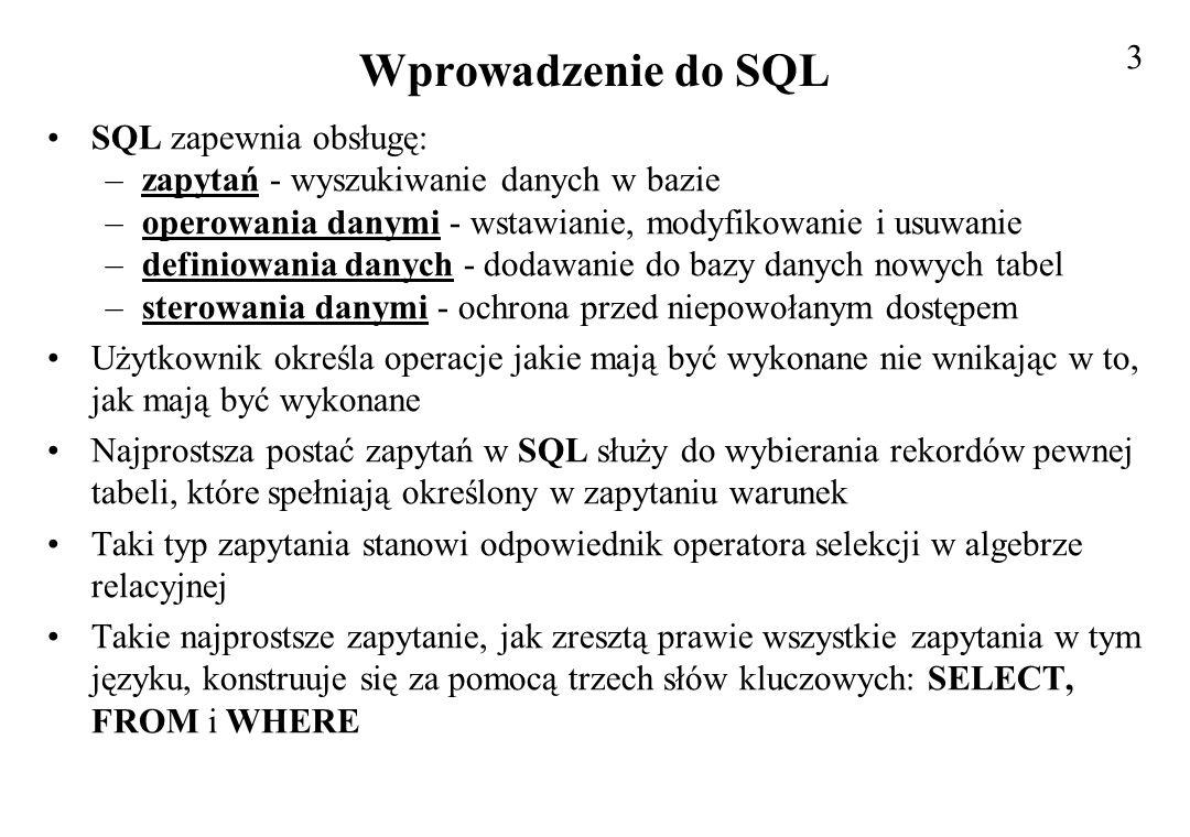 Podstawowe klauzule w SQL SELECT nazwy_kolumn FROM nazwa_tabeli WHERE warunek; Pozwalają na wybranie z tabeli określonych kolumn i rekordów spełniających ustalone warunki czyli pozwalają na realizację rzutowania i selekcji Warunek formułowany jest jako złożone wyrażenie porównania Przykładowa tabela o nazwie NAZWISKA zawiera kolumny: –NUMER –IMIE –NAZWISKO –STANOWISKO –PENSJA –MIASTO 4