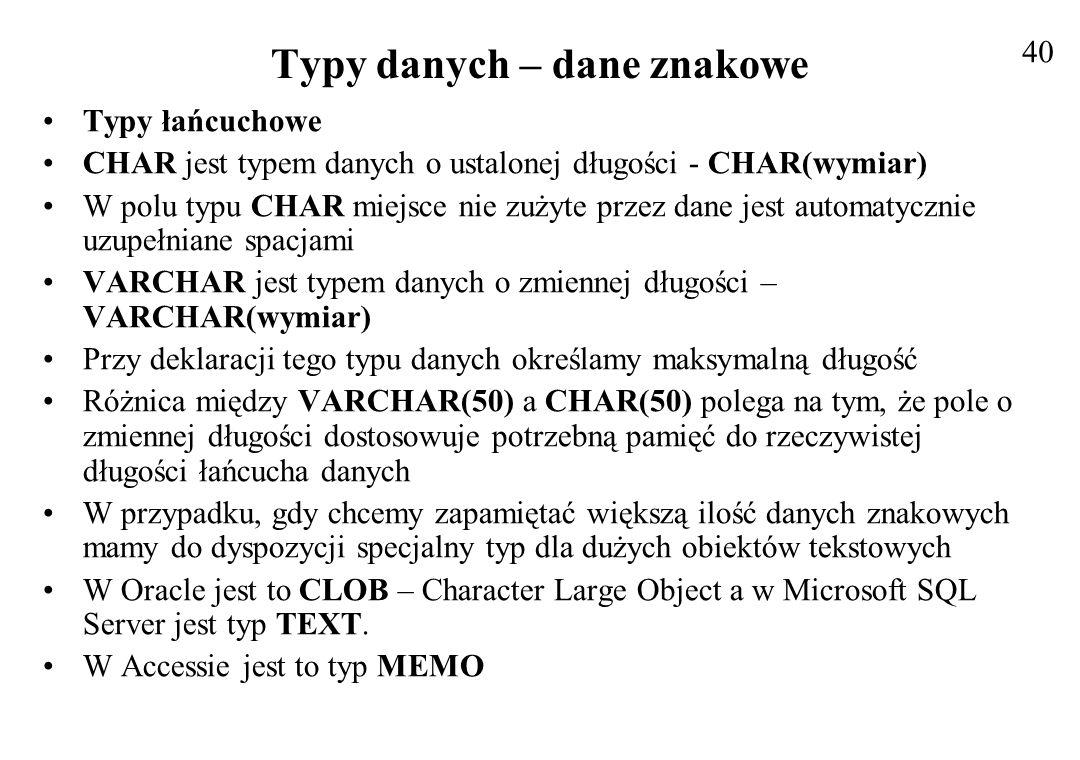 Typy danych - dane numeryczne Czasami dane numeryczne przechowuje się w polu znakowym, np.
